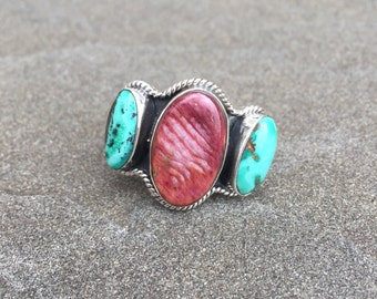 Balance Water | Sterling Silver Ring With Spiny Oyster Shell & Turquoise