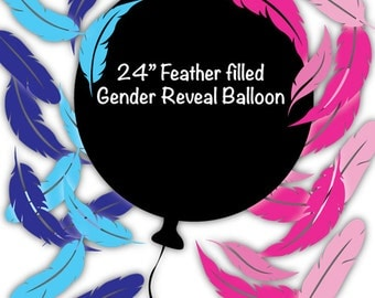 "24"" Feather Filled Black Gender Reveal Balloon - Gender Reveal Balloon - Black Gender Reveal Balloon"