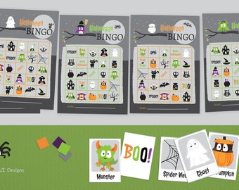 Halloween BINGO Game Printable - 30 different 5X6 Bingo cards - Halloween Party Games - Instant Download - School Party  Holiday Party Games