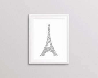 Eiffel Tower, Grey Geometric Print Silhouette, 8x10 Art Decor Digital Print