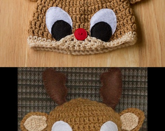 Crochet Reindeer Beanie for Child or Adult