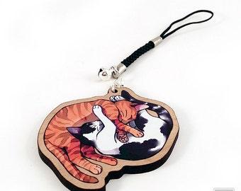 "Love Yin-Yang Cats - 2"" cherry wooden charm - Cat Illustration charm keychain"