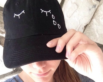 EYES WITH LASHEs AND TEARs Aesthetic Embroidered Black Twill Baseball/Snapback Cap (Made to Order)