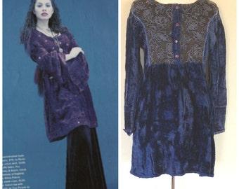 Vintage 90s Blue Crushed Velvet Babydoll Dress by Ravia