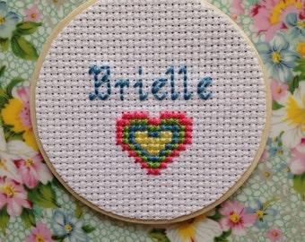 Personalized Name Magnet with Heart, Gift for Girl, Gift for Kids, Custom Magnet, Cross Stitch Art, Heart Decor, Locker Decor