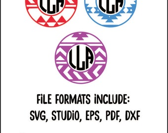 Aztec Monogram Frame, aztec monogram svg, tribal monogram svg, aztec pattern, tribal pattern, monogram frame svg, monogram svg, dxf