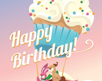 Happy Birthday Cupcake Balloon Greeting Card
