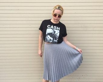 Vintage Grey Houndstooth Pleated Midi Skirt 1950s - 1960s