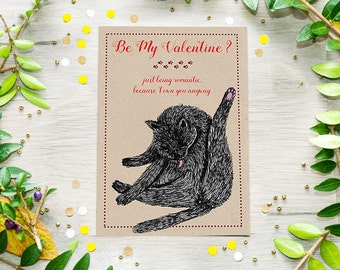 Printable Valentines Cat Card, Funny Valentine's Day Card, Digital Download, Last Minute Gift
