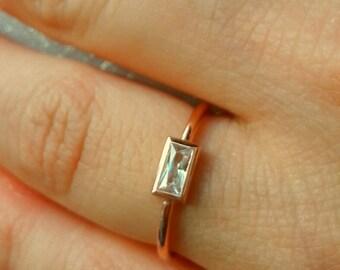 Diamond Baguette Ring-14K Gold Diamond Baguette Ring-Solitaire Ring-Rose Gold Ring-Handmade Baguette Ring
