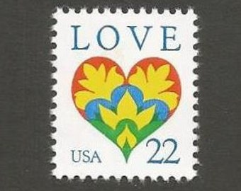 10 LOVE Heart Vintage Postage Stamps, 22 Cents, Unused # 2248