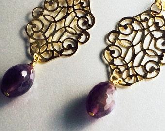 Earrings studs Amethyst wonder Mademoiselle VK jewel of creator