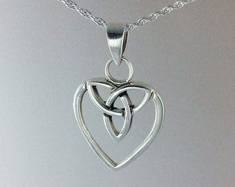 Heart Necklace~Celtic Heart Necklace~Silver Celtic Heart with Trinity Pendant~Silver Heart~Bridesmaid Jewelry~Gift for Her