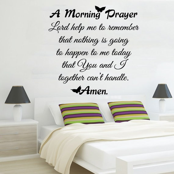 Family Wall Decal Quote Morning Prayer Art By AmazingDecalsArt