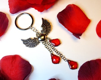 Winged Heart keychain - multiple colors available