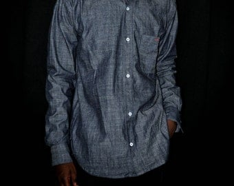 Men lightweight Long Sleeve Denim Shirt With Front Pocket Size Small, Medium, Large, X-large
