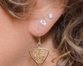 solid gold earrings,weddings earrings,delicate gold earrings,blue topaz drop earrings, Chandelier gold earrings .