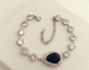 Blue Sapphire Bridal Bracelet Blue Wedding Cubic Zirconia Bracelet Sapphire Blue Crystal Bracelet Blue Sapphire Teardrop Bridal Bracelet
