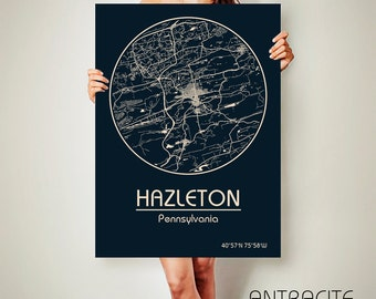 HAZLETON Pennsylvania CANVAS Map Hazleton Pennsylvania Poster City Map Hazleton Pennsylvania Art Print Hazleton Pennsylvania poster