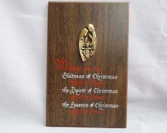 70s Christmas Plaque - Holy Family Joseph Mary Jesus - Vintage 1970s