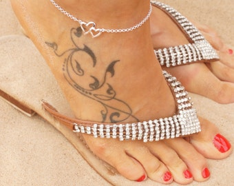 Sterling silver plated heart anklet