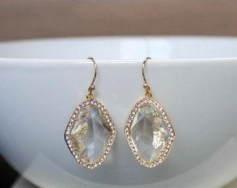 Gold bridal earrings, gold wedding earrings, crystal gold earrings, clear earrings, bridal jewellery, bridal earrings, gold earrings.