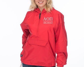 Alpha Omicron Pi Windbreaker lined with flannel lining, AOPi Sorority Rain Jacket, AOii sorority Anorak, AOPi Greek Apparel,AOii Greek Gear