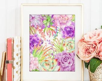 Succulent Plant frame, wedding printable, watercolor succulent frame,  digital print for Instant Download