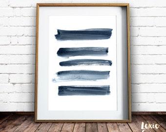 Brushstrokes Print, Brush Stroke Art, Indigo Lines, Painted Lines, Abstract Art, Minimalist Art, Printable Wall Art, Instant Download