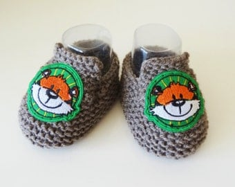 Moccasin wool baby - shoes for baby wool grey