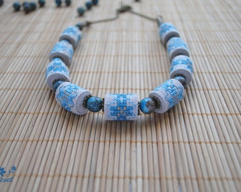 Agate necklace Embroidered necklace Unique Embroidered jewelry Ethnic jewelry Gift for women blue necklace Hand embroidery Ukrainian jewelry