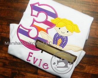 Girls Gymnast Birthday Shirt/ Gymnastic Applique Shirt/ Gymnastic Birthday Shirt