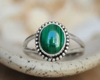 Size 8 - Ready To Ship - Bold Malachite Statement Ring In Sterling - Silver Gemstone Split-Shank Ring with Beaded Detail - Gift For Her