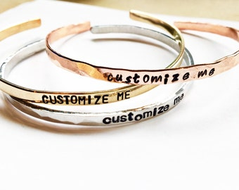 Custom Personalized Cuff Bracelet SKINNY - Personalized Jewelry - Christmas Gift - Best Friend Gift - Hand Stamped Bracelet - Gift For Her