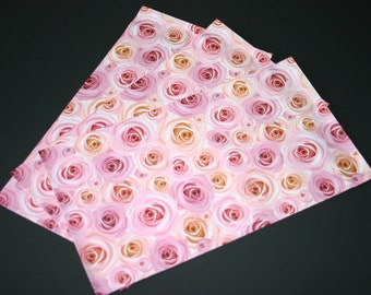 200 NEW 6x9 Designer Poly Mailers Roses Pink Peach Flowers Self Sealing Envelopes Shipping Bags