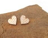 Valentines Hearts Earrings on Birch Wood - Wooden jewelry - Post Earrings -Silver 925 Stud Earring - Valentines Day Gift - Wooden earrings