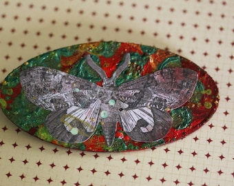 SALE Hand Painted Wooden Moth Brooch