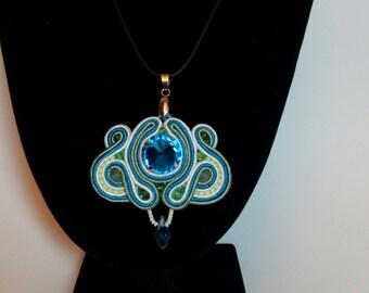 Blue Turquoise Mint Soutache pendant Necklace