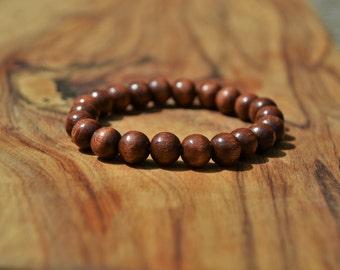 Chestnut Brown Wood - 8mm Wooden Bead Bracelet