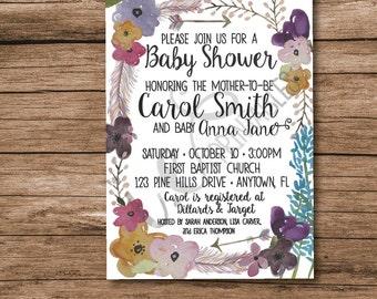 Boho Chic Baby Shower Invitation (Personalized)