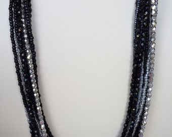 Black and Silver Multi Strand Necklace