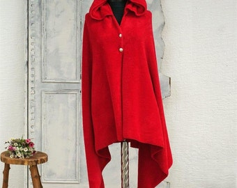 Women's cape,Red cape,hooded cape,womens cloak,Red cloak,hooded poncho,womens gift,Gift for her