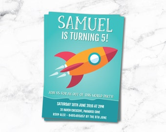 Rocket Ship Kids Party Invite Birthday Baby Toddler Boy - Invitation - Colorful 1st 2nd 3rd 4th 5th 6th - Printable Invite - 4x6 or 5x7