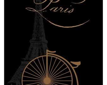 Paris Print, Paris Illustration, Art Deco, Wall Art, Poster Print, Paris Decor, black, gold, High Wheel, Eiffel Tower, Paris, Paris Art