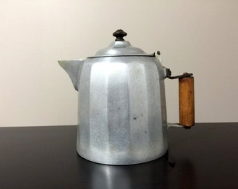 Antique Wagner Ware Sidney Aluminum 3 Qt Colonial Coffee Pot PAT'D 1902 Original Rustic Patina Early Century One of a kind Hand Made Handle