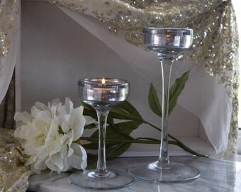 Pair Cut Glass Distressed Stemmed Candle Holder