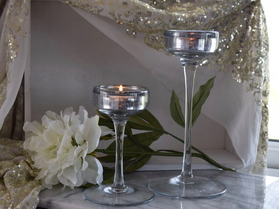 """Pair of cut glass handmade antique finish distressed stemmed candle holders, tallest 9.5"""" shorter 6.5"""" wedding or Christmas table decoration"""