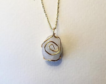 Small Wrapped River Rock Necklace White