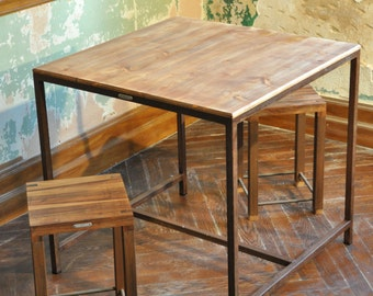 Table square metal and wood aged industrial style