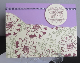 Just Because, Just a Note, Card for Her, Purple Card, Flowers, Handmade Card, Stampin Up